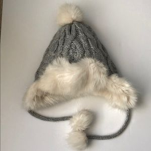 Grey cable knit fur lined hat